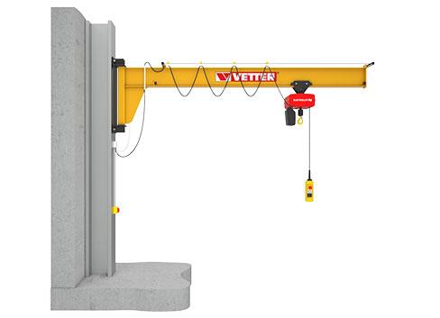 עגורן זרוע חיבור לקיר  תמיכה תחתית דגם AS  ניצול אופטימלי של גובה המבנה